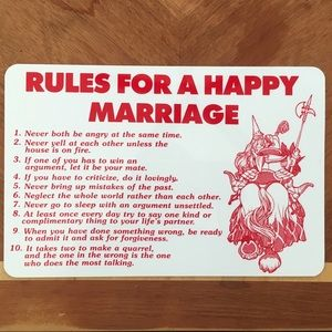 Rules for Happy Marriage Sign
